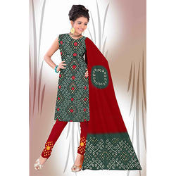 Bandhej Fancy Green Suit