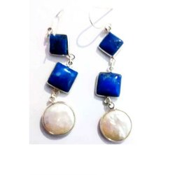 925 Sterling Silver 18k Gold Plated Blue Lapis Earing