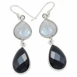 Black Onyx With Rainbow Moonstone Sterling Silver Earrings