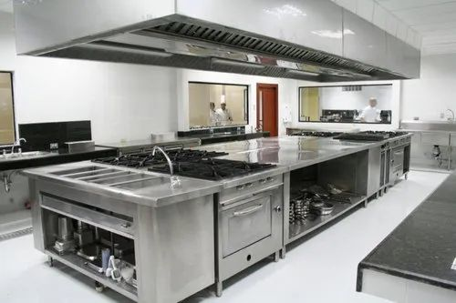 Stainless Steel L Shape Industrial Kitchen Design Hotel