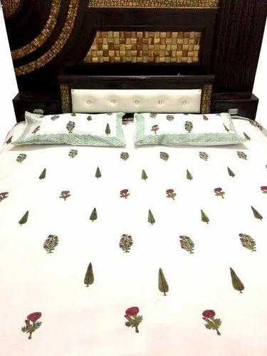 Handmade Mughal Block Print Bed Sheet Flower And Tree Print