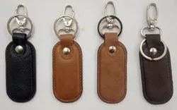 Elliot Imported Leather Key Chain With Lock