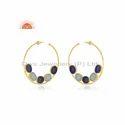 Lapis Lazuli Aqua Chalcedony Gold Plated Silver Bali Earrings Jewelry