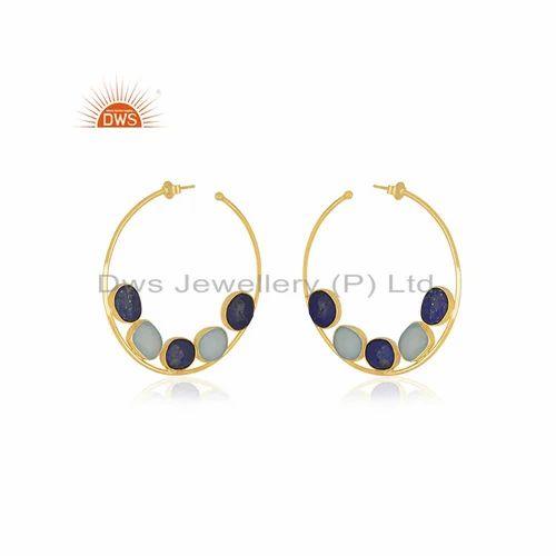 d8a20fe16 DWS Round Lapis Lazuli Aqua Chalcedony Gold Plated Silver Bali Earrings  Jewelry