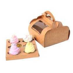 6 Cavity Brown Dome Shape Handle Window Cupcake Box