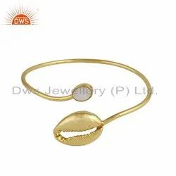 Mother of Pearl Gemstone Cowrie Design Gold Plated Silver Bangle
