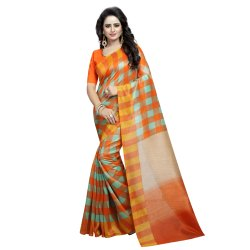 Orange & Multicolored Art Silk Casual Saree