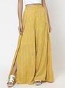 Yellow Stripe Wrap Flared Rayon Pant