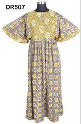 Cotton Hand Block Printed Women's Long Maxi Dress DR507