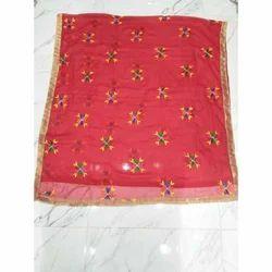 Red Chiffon Phulkari Dupatta