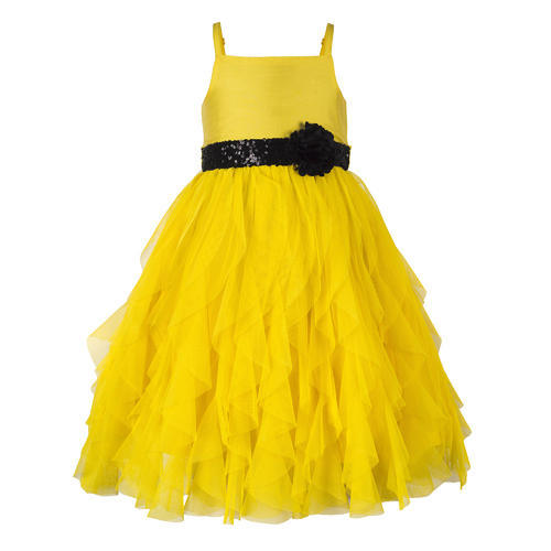 525332e95950f Yellow Polyester & Cotton New Arrivals Frock For Toddler Girls, Age: 6-12