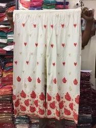 Ladies Cotton Chikan Embroidery Palazzo
