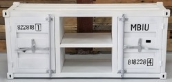 White Industrial Metal TV Cabinet Container Style Large L 55
