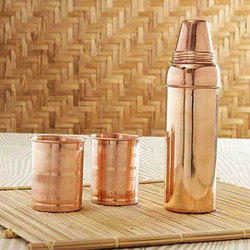 IGP Plain Copper Bottle And Glasses