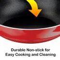 Nirlon Non-Stick 3 Layer Coated Chemical Free Aluminium Cooking Kadai Kitchenware Essential Utensils
