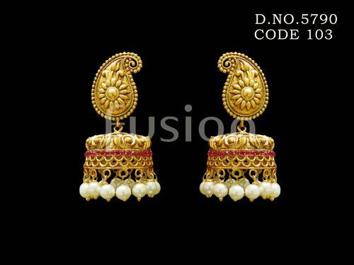 1c3170dee Fusion Traditional Matt Polish Pearl Hanging Earrings, Rs 515 /pair ...