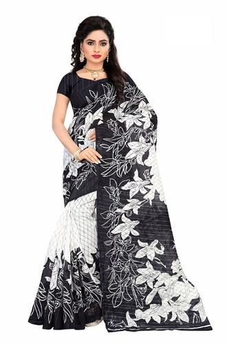 a5dd96228106 New Designer White And Black Floral Printed Saree, Floral Dress ...