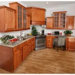 Brown Teak Wood Kitchen Cabinet Rs
