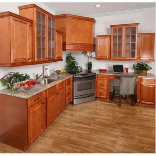 Brown Teak Wood Kitchen Cabinet, Rs 1500 /square feet ...