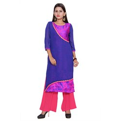 Blue And Pink Georgette Kurti