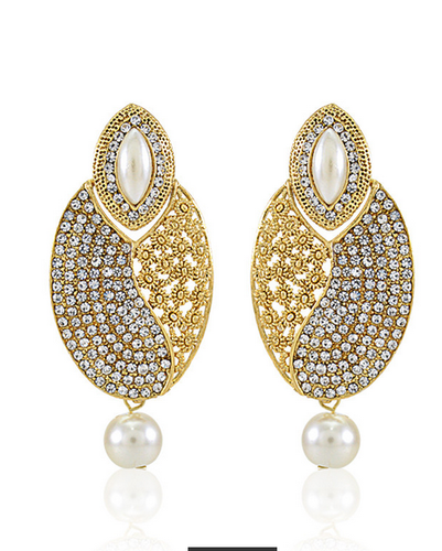 Crystal Pearl Designer Gold Plated Drop Earring