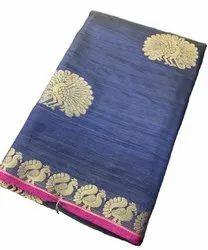 Tusser Silk With Zari Weaving Designer Birds Butta Saree