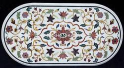 White Marble Pietra Dura Table Top