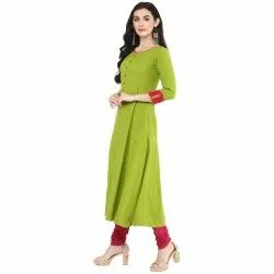 Yash Gallery Women's Cotton Slub Mirror Work Anarkali Kurta