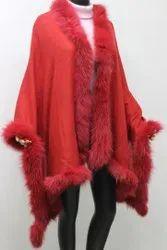 Cashmere Red Fox Fur Four Side Shawls