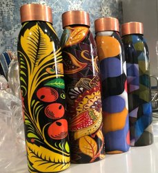 White Sublimation Copper Water Bottle, For School, Round