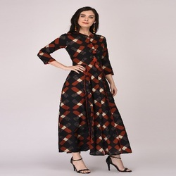 Black Red Long Kurti