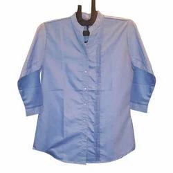 Cotton Plain Ladies Blue Formal Shirt