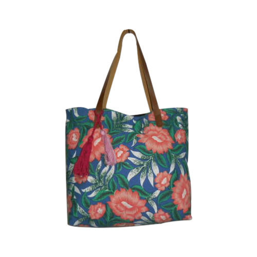 9c3c0d02b94a Casual Wear Multi Ladies Print Canvas With Leather Tote Bag