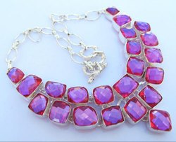 Faceted Mystic Quartz 92.5 Sterling Silver Necklaces