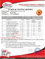 Qyick Lime Powder Test Report