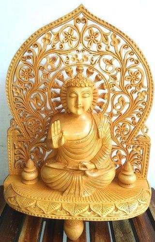 Wooden Buddha Statue With Cut Work