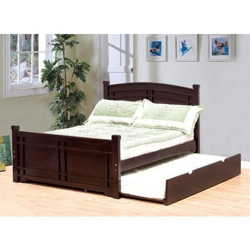 Wooden Brown Double Bed With Pull Out Unthinkable Rs 40000 Piece