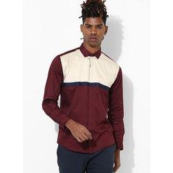 Green Hill Men's Designer Maroon Beige Shirt