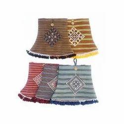 Canvas Printed Ladies Ajrakh Print Striped Handicrafts Bags
