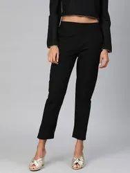 Black Cotton Regular Pants