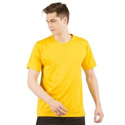 Men Round Neck or Crew Neck Yellow T-Shirt