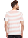 100% Cotton Men Half Sleeve Striped Henley Multicolour T-Shirt