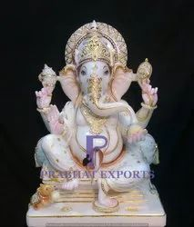Gold Plated Marble Ganesha Statue