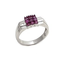 Natural Ruby Fine 925 Sterling Silver Fashionable Mens Rings