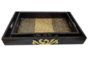 Master Crafts Multicolor Wooden With Brass Work Tray Set Of 2