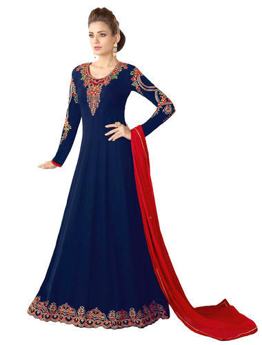 5f48d0b01a Georgette Embroidered Women' s Occasion Party Wear Long Ankle Length  Anarkali Suit Dress Material