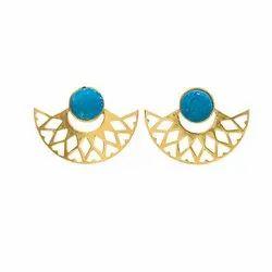 Blue Druzy Gemstone Stud Earring
