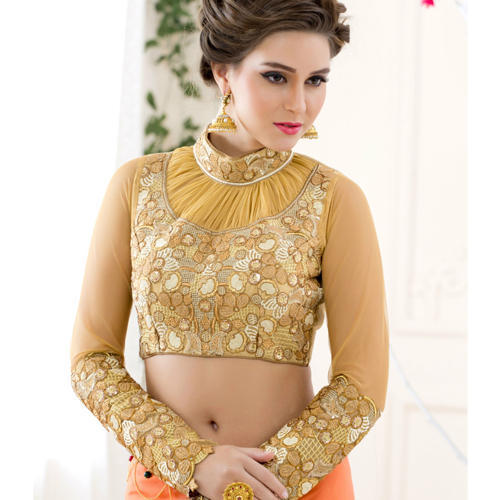 06279a7a29337 Embroidered Golden Color Fancy Ladies Blouse
