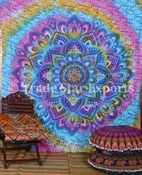 Decorative Mandala Hand Screen Printed Wall Hanging Tapestry