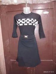 Casual Wear Black Ladys Dresses, Full Sleeves, Machine wash